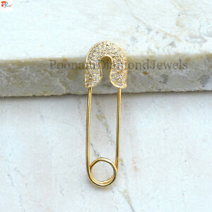 Sale! Pave Safety Pin Brooch Gold Plated 925 Sterling Silver Pave Diamond Brooch