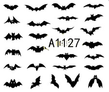 Nail Art Sticker Water Transfers Stickers Halloween Flying Bats (A-1127)