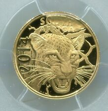 PCGS SECURE + SOUTH AFRICA 2014 LEOPARD - NATURA PROOF70DCAM PROOF GOLD COIN