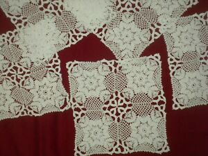 Antique&Vintage Handmade White 5 pcs Cotton Crochet Lace Doilies**code:a450**