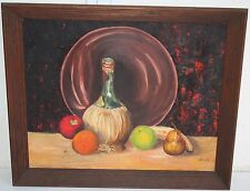Old Russian School Still Life Oil Painting Fruit & Wine on Table