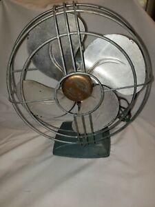 Vintage Gilbert Polar Cub Oscillating Fan Runs & Oscillates Blue Cast Iron Base