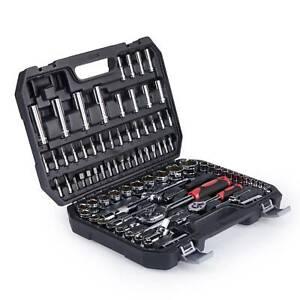 94 pcs Steckschlüsselsatz 1/4 1/2 Zoll Knarrenkasten Werkzeugkoffer Nuss Ratsche