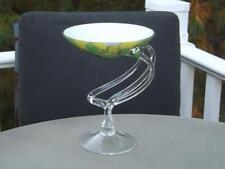 Makora Krosno Art Glass Centerpiece Bowl Green & Yellow