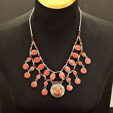Red CORAL Genuine Stone Belly Dance Bellydance Kuchi Tribal NECKLACE 800j4