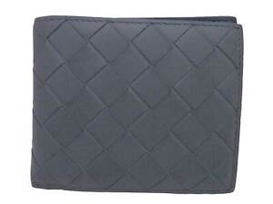 Auth BOTTEGA VENETA Intrecciato Short Bifold Wallet Blue Gray Leather - e48176a