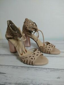 Wittner Blush Heels Size 38 Cut Out design With Ankle ties Party/Formal shoes