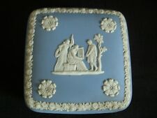 Vintage Wedgwood England Jasperware Blue Square Trinket Box