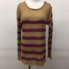 Ann Taylor Loft pull on sweater button detail brown purple stripe mohair Size L