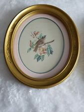 Vintage Oval Framed Blue Birds by Kay Lamb Shannon Homco Made in Usa
