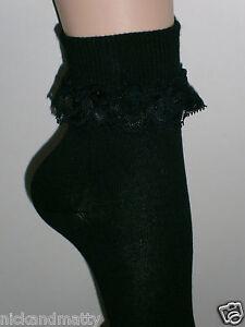BLACK ANKLE SOCKS WITH LACE TRIM  GIRLS-LADIES