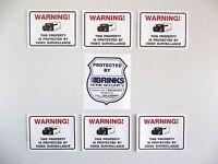BRINKS ADT HOME SECURITY SYSTEM WARNING STICKER+6 VIDEO CAMERA WINDOW DECALS