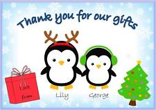 Penguin Themed Christmas Thank You Cards Personalised Postcard style