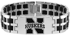 NEBRASKA CORNHUSKERS * Stainless Steel Rubber Link Bracelet w/Logo  NCAA Jewelry