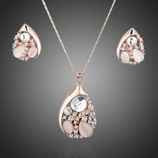 Sparkly Crystals Rose Gold Plated Pendant Chain Necklace Earrings Jewellery Set