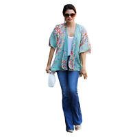 Vintage Women Floral Print Long Loose Kimono Jacket Coat Cardigan Blouses Tops