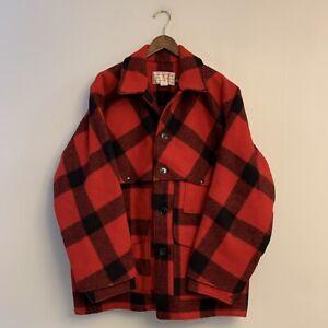 Filson Double Mackinaw Heavy Wool Cruiser Jacket Buffalo Check Size 48 Mens NWOT