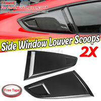 Carbon Fiber Look Side Vents Window Louver Scoops Cover For Ford Mustang 2015-20