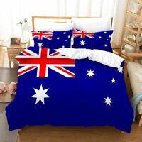 3D Australian Flag Bedding Set Doona Cover Duvet Cover Pillow Case Blue Red