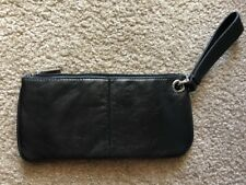 HOBO INTERNATIONAL LEATHER CLUTCH WRISTLET LARGE BLACK SILVER HARDWARE