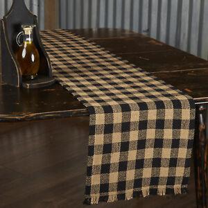 "VHC Brands Primitive 13""x72"" Fringed Table Runner Black Kitchen Table Decor"