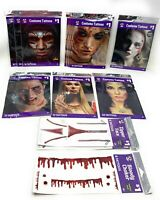 Halloween Costume Face Tattoos - Bloody Zombie Monster Robot Ages 6+ --Lot of 14