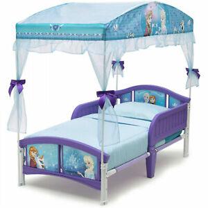 Disney Frozen Little Girls Canopy Toddler Bed Princess Furniture Bedroom New