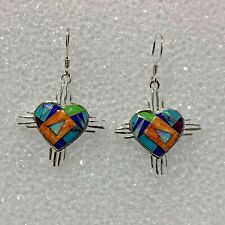 Sterling Silver Handmade Inlay Multi-Stone Heart with Zia Symbol Hook Earrings