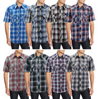 Men's Casual Cowboy Short Sleeve Button Down Plaid Pearl Snap Western Shirt