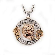 Horns Fangs Biker Pendant gb-152 Copper Hannya Medallion 925 Sterling Silver