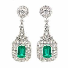 2.84 cttw Green Emerald & Round Diamond Double Halo Drop Earrings 18K White Gold