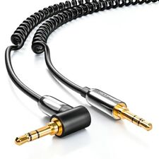 deleyCON 2m Klinken Kabel Spiralkabel 2 x 3,5mm Klinke 1 x 90° abgewinkelt