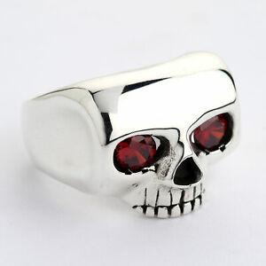 Johnny Depp Ring, Sterling Silver Johnny Depp Skull Ring w/Red Eyes