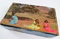 Vintage Decoupage Wooden Cigar Box, Indian Images Inside & Out