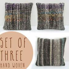 pillowcases set of three 16x16 vintage kilim cushion cover Turkish black beige