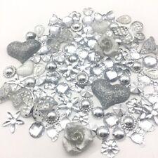 100 Adornos cabujón de tono plata perlas Flatbacks Gemas Craft Cardmaking