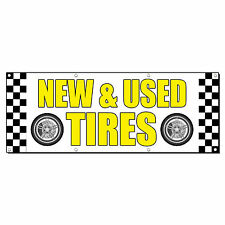NEW & USED TIRES CAR BODY SHOP REPAIR Business Sign Banner 4' x 2' w/ 4 Grommets