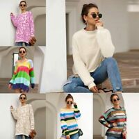 Sweater Casual Jumper Womens Knitted Knitwear T-Shirt Long Sleeve Pullover Loose