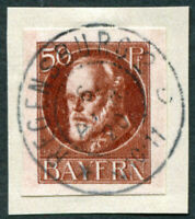 BAVARIA 1920 50pf chocolate SG186B used NG IMPERF King Ludwig III on piece a3