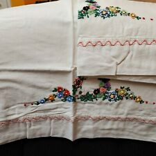 New listing Vintage Hand Embroidered Pillow Cases with Flowers