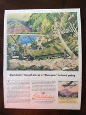 1945 vintage original color ad Studebaker Weasel Wwii theme beautiful