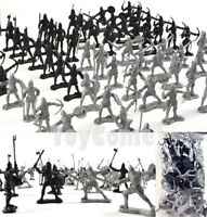 60 pcs Sliver Black Knights Warriors Medieval Toy Soldiers Figures