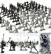 60 pcs//lot Silver Black Fighters Medieval Soldiers Army Figures Playtoy Gift