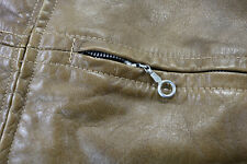 vtg womens harley davidson leather cafe jacket brown m L amf lightweight zip bar