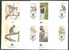 WILD ANIMALS: MONKEYS, BABOONS WWF ON ST KITTS 1986, Scott 189-192 on 4 FDC
