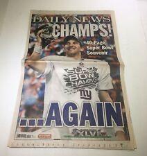 New York Daily News: FEb 6 2012 Eli Manning Super Bowl Champion NY Giants