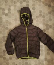 BOYS SNOZU GRAY/LIME POLYESTER JACKET SIZE 5 HOODED DOWN FILLED SKI CAMO Inside