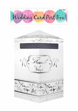 Wedding Card / Gift Thank You Post Box White & Silver