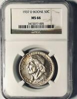 1937-D  Boone Commemorative Silver Half Dollar - NGC MS 66 - Original Surfaces