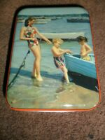 Vintage Edward Sharp & Sons England Candy Tin with Boat Dock Scene Kids